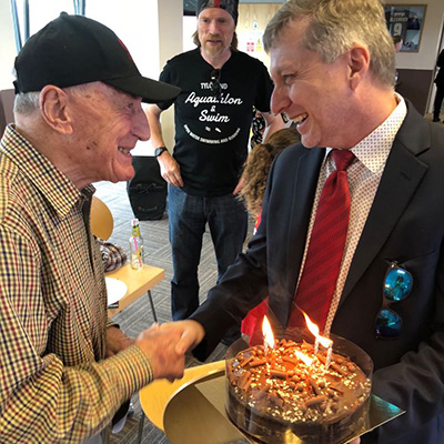 Fred Breyer celebrating his 90th birthday recently in the clubs directors  lounge – with Kent Teague the owner of Leyton Orient.